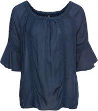 Blusa in tessuto stropicciato con pizzo (Blu) - RAINBOW