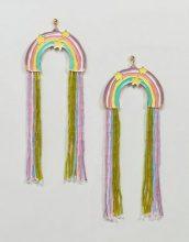 ASOS DESIGN - Orecchini appariscenti con nappe arcobaleno e perline iridescenti - Multicolore