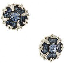 1928 Jewelry - Orecchini a bottone, con cristallo color zaffiro, colore: Argento/Blu