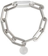 Burberry - Glass Charm Palladium-plated Link Bracelet - women - Brass/glass - S, M, L - Metallizzato