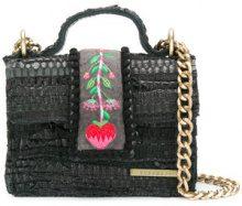 Kooreloo - Borsa a spalla con ricamo - women - Leather/Velvet - OS - Nero
