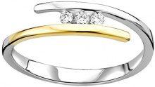 DIAMADA Anello da Donna in Oro Bianco/Giallo 9K con Diamante, Misura 12