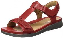 Clarks 261250864, Sandali Donna, Rosso (Red Leather), 35.5 EU