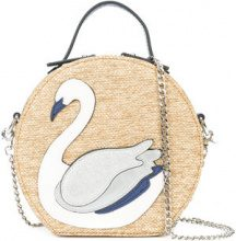 Christian Siriano - swan patch tote bag - women - Polyester/Straw - OS - NUDE & NEUTRALS