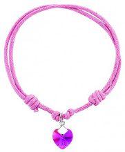 Jo for Girls - Braccialetto in cordino, in argento Sterling, colore: rosa, argento, colore: Fuscia, cod. SWB01fu