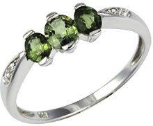 Ivy Gems-Pendente in argento Sterling 925, con zaffiro verde, con tre pietre e diamante, Misura: 14