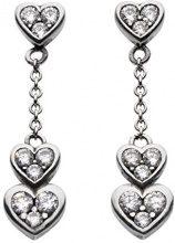 Dew-Collana in argento Sterling, con pavé di Zirconia cubica, finitura ossidata, 3-Orecchini pendenti a forma di cuore