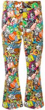 Moschino - patch print trousers - women - Cotone/Other fibres - 40, 42 - MULTICOLOUR