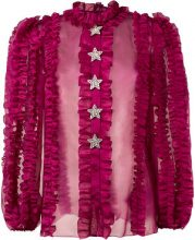 Dolce & Gabbana - crystal star ruffled blouse - women - Silk - 42 - Rosa & viola