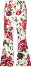 Dolce & Gabbana - Peony print cropped trousers - women - Cotone/Spandex/Elastane - 38, 40, 42, 44, 46 - Bianco