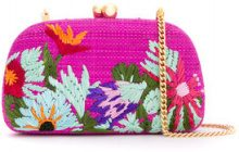Serpui - embroidered clutch - women - Raffia - OS - PINK & PURPLE