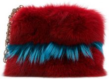 Mr & Mrs Italy - Bosa clutch bicolore - women - Cotton/Fox Fur/Racoon Fur - OS - RED