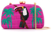 Serpui - embroidered clutch - women - Raffia - OS - PINK & PURPLE