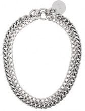 Diesel - double chain design nacklace - women - Aluminium - One Size - Metallizzato