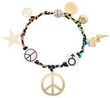 Venessa Arizaga - Bracciale 'Peace Charm' - women - ottone placcato argento/ceramic/glass/Cotone - OS - Multicolore