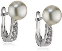 MTS–Orecchini da donna in argento Sterling 925rodiato conchiglia con zirconi bianchi es01298