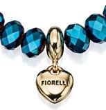 Fiorelli Costume Collection-Braccialetto elastico con perline e ciondolo a forma di cuore, lunghezza 18,5 cm, colore: cobalto _