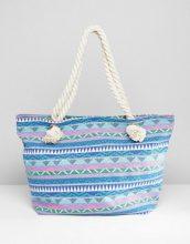 South Beach - Maxi borsa blu con stampa geometrica e manici in corda annodati - Multicolore