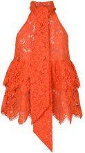 Ganni - Eyelash lace halterneck top - women - Polyamide/Cotone/Viscose - 34, 36, 38 - Giallo & arancio