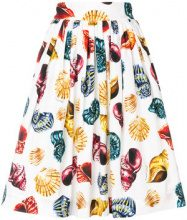 Dolce & Gabbana - Gonna con stampa conchiglie - women - Cotone - 42 - Bianco