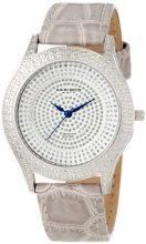 Akribos XXIV, orologio da donna, quadrante in acciaio inox, con diamanti artificiali di colore grigio, con cinturino in pelle di vitello
