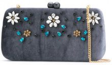 Serpui - embellished velvet clutch - women - Polyester - OS - GREY
