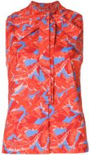 MSGM - palm print pussy bow top - women - Cotone - 40, 42, 44 - Rosso