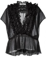 Givenchy - Blusa con effetto trasparente - women - Cotone/Silk - 38, 36 - Nero