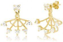 Ingenious Jewellery Donna 925 argento Rotonda trasparente FINEEARRING, argento, colore: oro, cod. EB4048/GLD