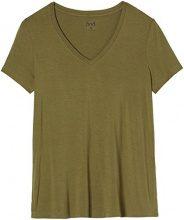 FIND T-Shirt Lunga con Scollo a V Donna, Verde (Green Khaki), 44 (Taglia Produttore: Medium)