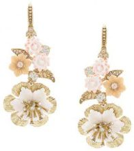 Marchesa Notte - drop floral earrings - women - Gold Plated Brass/Crystal - OS - YELLOW & ORANGE
