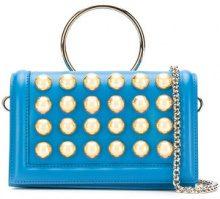 Elie Saab - Borsa clutch borchiata - women - Calf Leather/Brass - OS - Blu