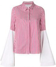 Milla Milla - Camicia svasata a righe - women - Cotone - 44 - WHITE