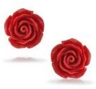 Bling Jewelry Rosa Fiore Placcto Argento simulata corallo rosso Orecchini 10 millimetri