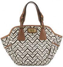 Marni Vintage - woven-effect totet bag - women - Leather/Raffia/Acetate - OS - Color carne & neutri