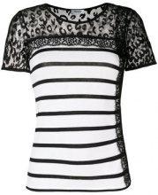 Liu Jo - T-shirt con pannello trasparente - women - Viscose/Polyamide/Spandex/Elastane - XS - BLACK