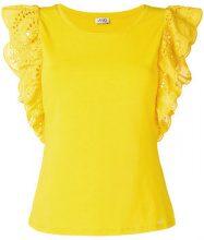 Liu Jo - T-shirt con maniche ricamate - women - Cotton/Spandex/Elastane - S - YELLOW & ORANGE