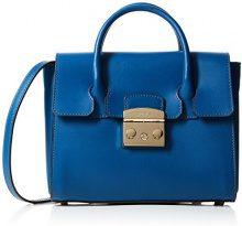 FURLA Metropolis Small Satchel - Borse a secchiello Donna, Blu (Blu Pavone D), 11x19x24 cm (B x H T)