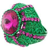 Gucci - Anello 'Crystal Pink and Green Pincushion' - women - Crystal/metal - M - GREEN