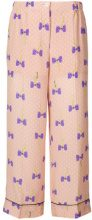 Miu Miu - bow print trousers - women - Silk/Polyester - 36, 38, 40, 42 - PINK & PURPLE