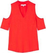 FIND Blusa con Scollo a V e Fascia al Collo Donna, Rosso (Red Tomato), 40 (Taglia Produttore: X-Small)