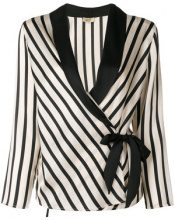 - Liu Jo - striped waist - tied jacket - women - Polyester - 42, 46, 44 - Nero