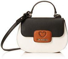 Love Moschino Borsa Calf Pu Bianco/cuoio/nero - Borse a spalla Donna, Multicolore (White-tan-black), 8x17x24 cm (B x H T)