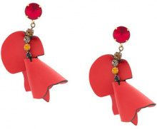 Marni - embellished flower earrings - women - Leather - OS - Rosso