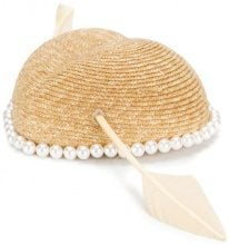 Gucci - Cappello con perle - women - Silk/Polyamide/Polyester/Straw - M - Color carne & neutri