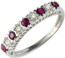 Ivy Gems, Anello di fidanzamento in oro bianco 9 ct, con rubini e diamanti a forma di stelle, Red, 17 3/4