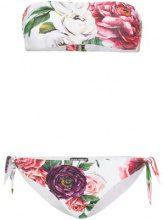 Dolce & Gabbana - peony print bandeau bikini - women - Polyamide/Spandex/Elastane - III, IV - PINK & PURPLE