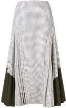 Fendi - check midi skirt - women - Lana Vergine/Silk - 40 - Bianco