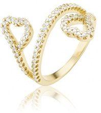 Ingenious Jewellery-Anello in argento Sterling, cuori con contorno, Argento, 16, colore: oro, cod. RB9270/GLD/8
