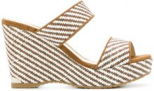 Jimmy Choo - Sandali 'Parker' con zeppa - women - Leather/Straw/rubber - 38, 36.5, 39 - Bianco